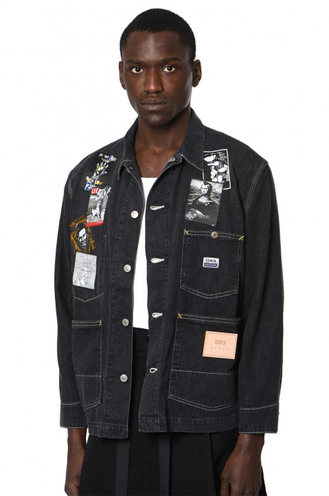 KIDILL X EDWIN Patches Black Denim Shirt-Jacket  0