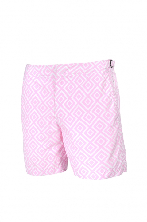 OLEBAR BROWN Bulldog Pink Print Shorts 0