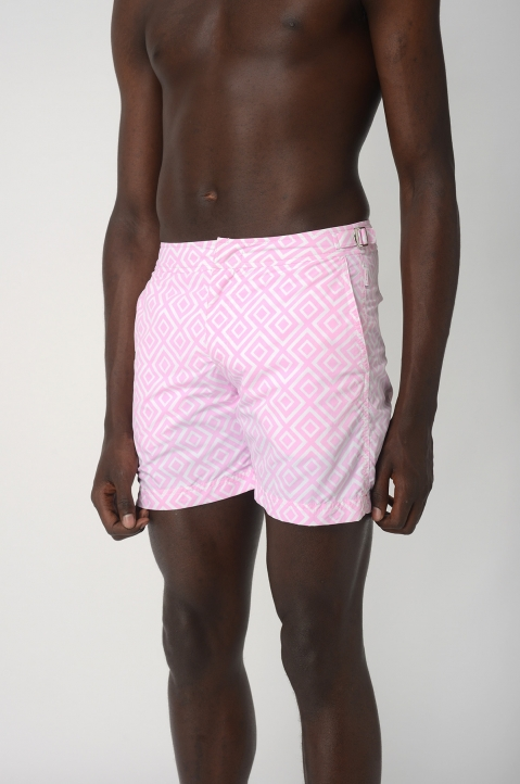 OLEBAR BROWN Bulldog Pink Print Shorts 1