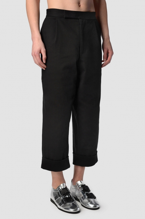 J.W. ANDERSON Cropped Pleated Black Twill Trousers 1