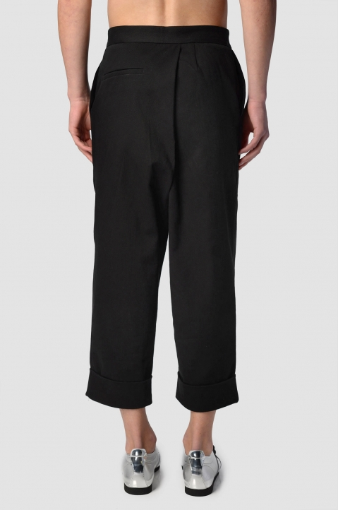 J.W. ANDERSON Cropped Pleated Black Twill Trousers 2