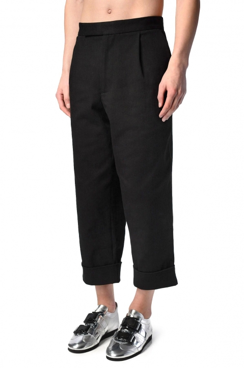 J.W. ANDERSON Cropped Pleated Black Twill Trousers 0