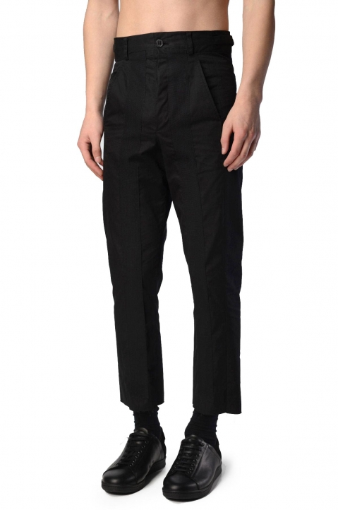 DAMIR DOMA Peris Black Cropped Cotton Trousers 0