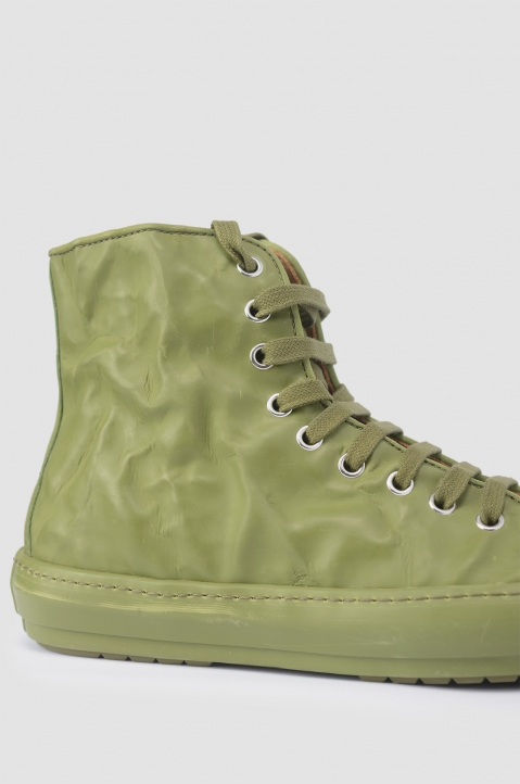 BOTH Green Crinkled High-Top Sneakers 1