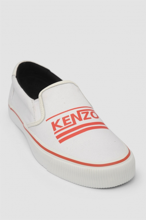 KENZO Logo Slip On White Sneakers 1