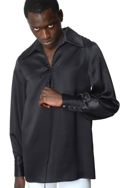 MAISON MARGIELA Black Silk Shirt 0