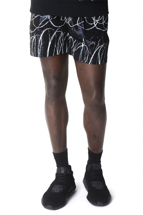 SANKUANZ Black Scribbled Shorts 0