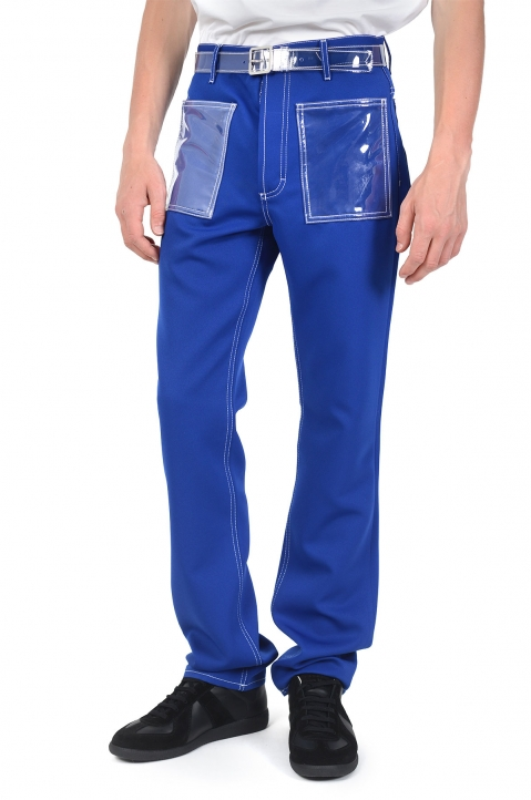 MAISON MARGIELA Plastic Blue Trousers 0