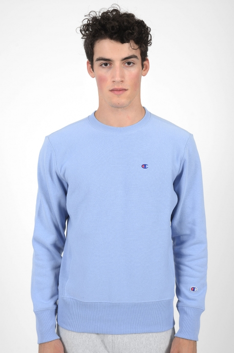 CHAMPION Small Logo Light Blue Sweatshirt 1