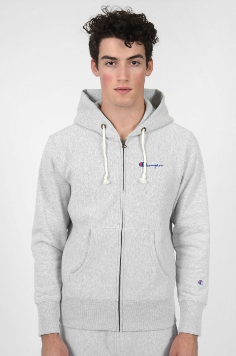 CHAMPION Logo Hood Grey Jacket 1
