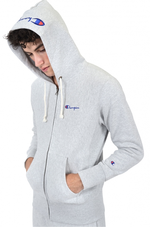 CHAMPION Logo Hood Grey Jacket 0