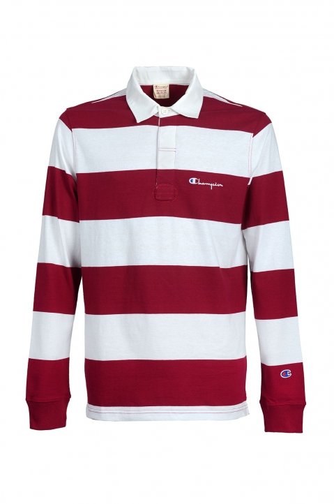 CHAMPION Maroon Striped Polo-Shirt 0