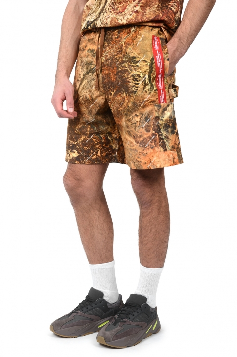 HERON PRESTON Camo Red Tape Shorts 0
