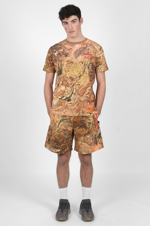 HERON PRESTON Camo Red Tape Shorts 3